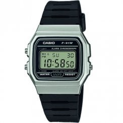 Casio Collection Digital Chronograph Black Resin Strap Unisex Watch F-91WM-7AEF