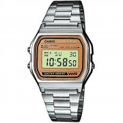Casio Collection Digital Chronograph Gold Dial Chrome Bracelet Unisex Watch A158WEA-9EF