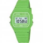 Casio Collection Digital Chronograph Green Resin Strap Ladies Watch F-91WC-3AEF