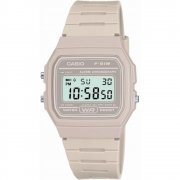 Casio Collection Digital Chronograph Grey Resin Strap Watch F-91WC-8AEF