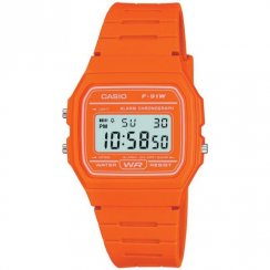 Casio Collection Digital Chronograph Orange Resin Strap Ladies Watch F-91WC-4A2EF
