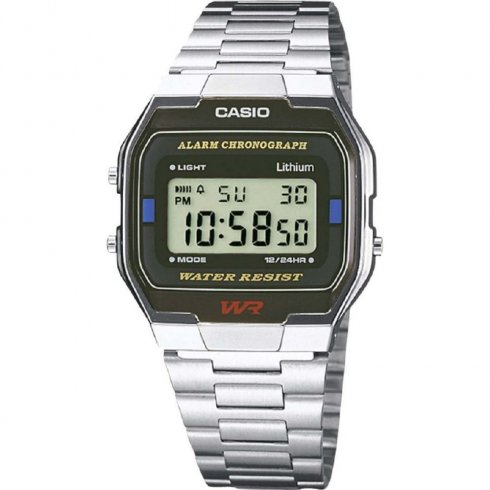 Casio Collection Digital Chronograph Stainless Steel Bracelet Gents Watch A163WA-1QES