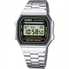 Casio Collection Digital Chronograph Stainless Steel Bracelet Mens Watch A168WA-1YES