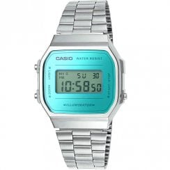 Casio Collection Digital Chronograph Turquoise Dial Chrome Bracelet Watch A168WEM-2EF