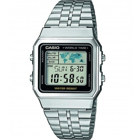 Casio Collection Digital Chronograph World Timer Bracelet Watch A500WEA-1EF