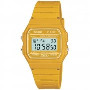 Casio Collection Digital Chronograph Yellow Resin Strap Ladies Watch F-91WC-9AEF