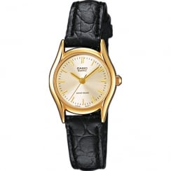 Casio Collection Gold Dial Black Leather Strap Ladies Watch LTP-1154PQ-7AEF