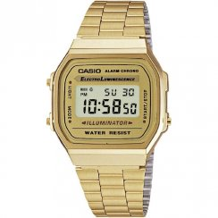 Casio Collection gold dial chronograph stainless steel bracelet Mens watch A168WG-9EF