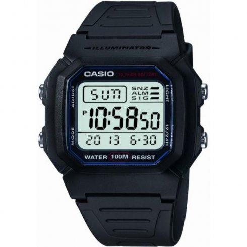 Casio Collection lcd dial chronograph resin strap Mens watch W-800H-1AVES