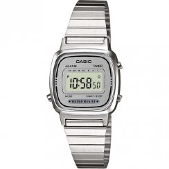 Casio Collection silver dial chronograph stainless steel bracelet Ladies watch LA670WEA-7EF