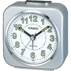 Casio Collection Wake Up Timer White and Silver Alarm Clock TQ-143S-8EF