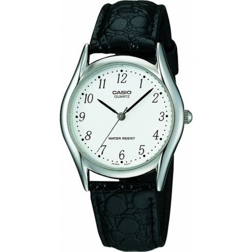 Casio Collection White Dial Black Leather Strap Gents Watch MTP-1154PE-7BEF