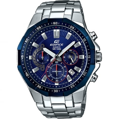 Casio Edifice Chronograph Blue Dial Chrome Bracelet Gents Watch EFR-554RR-2AVUEF