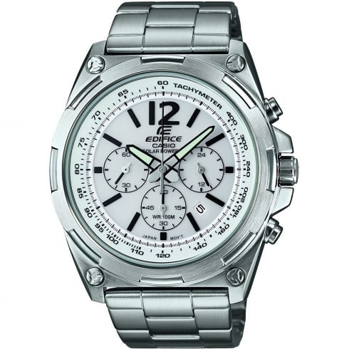 Casio Edifice Solar Chronograph White Dial Chrome Bracelet Gents Watch EFR-545SBD-7BVER