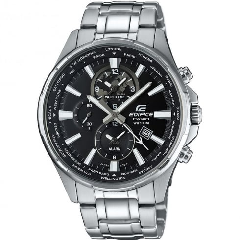 Casio Edifice World Time Black Dial Chrome Bracelet Gents Watch EFR-304D-1AVUEF