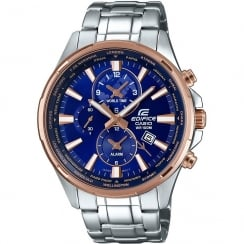 Casio Edifice World Time Blue Dial Chrome Bracelet Gents Watch EFR-304PG-2AVUEF