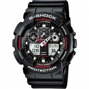 Casio G-Shock Dual Display Chrono Black Strap Gents Watch GA-100-1A4ER