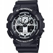 Casio G-Shock Dual Display Chrono Black Strap Gents Watch GA-100BW-1AER