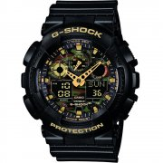 Casio G-Shock Dual Display Chrono Black Strap Gents Watch GA-100CF-1A9ER