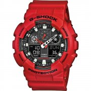 Casio G-Shock Dual Display Chrono Red Strap Gents Watch GA-100B-4AER