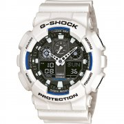 Casio G-Shock Dual Display Chrono White Strap Gents Watch GA-100B-7AER