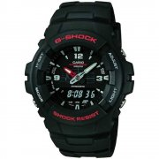 Casio G-Shock Dual Display Digital Chronograph Black Resin Strap Mens Watch G-100-1BVMUR