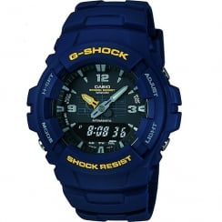 Casio G-Shock Dual Display Digital Chronograph Blue Resin Strap Mens Watch G-100-2BVMUR