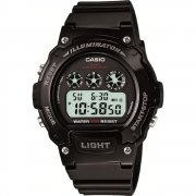 Casio Illuminator Digital Chronograph Black Resin Strap Mens Watch W-214HC-1AVEF