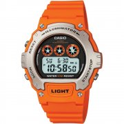 Casio Illuminator Digital Chronograph Orange Resin Strap Gents Watch W-214H-4AVEF