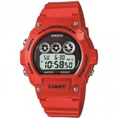 Casio Illuminator Digital Chronograph Red Resin Strap Mens Watch W-214HC-4AVEF