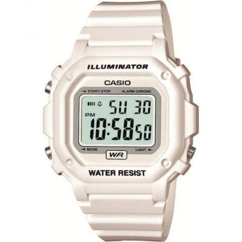 Casio Illuminator Digital Chronograph White Resin Strap Mens Watch F-108WHC-7BEF