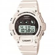 Casio Illuminator Digital Chronograph White Resin Strap Mens Watch W-214HC-7AVEF