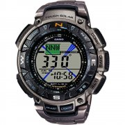 Casio ProTrek Digital Chronograph Titanium Bracelet Mens Watch PRG-240T-7ER
