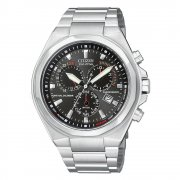 Citizen Antibes black dial chronograph stainless steel bracelet Mens watch BL5410-59E