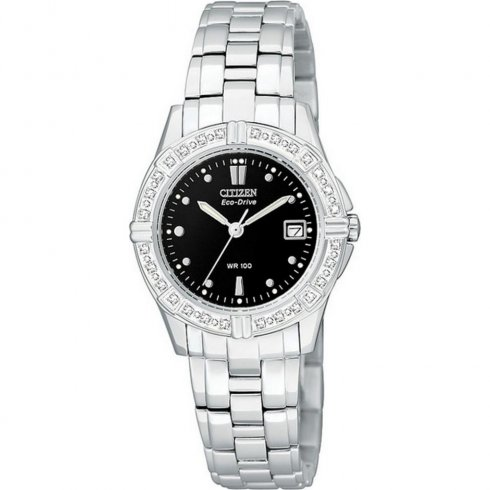 Citizen Diamond black dial stainless steel bracelet Ladies watch EW1390-55E