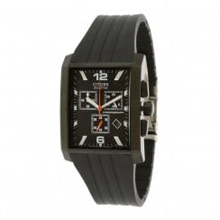 Citizen Promaster black dial chronograph rubber strap Mens watch AT0915-06E
