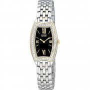 Citizen Silhouette Diamond Black Dial Stainless Steel Bracelet Ladies Watch EW9744-51E