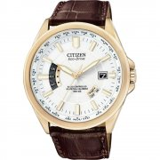 Citizen Stiletto white dial leather strap Mens watch CB0013-04A