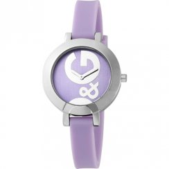 D&G Hoop-La Lilac Dial Rubber Strap Ladies Watch DW0668
