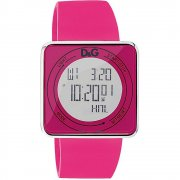 D&G High Contact Digital Chronograph Pink Rubber Strap Ladies Watch DW0737
