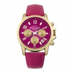 Daisy Dixon Adriana Gold Plated Magenta Leather Strap Ladies Watch DD002PG