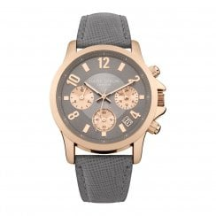 Daisy Dixon Adriana Rose Gold Plated Grey Leather Strap Ladies Watch DD002ERG