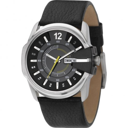 Diesel Chief black dial leather strap Mens watch DZ1295