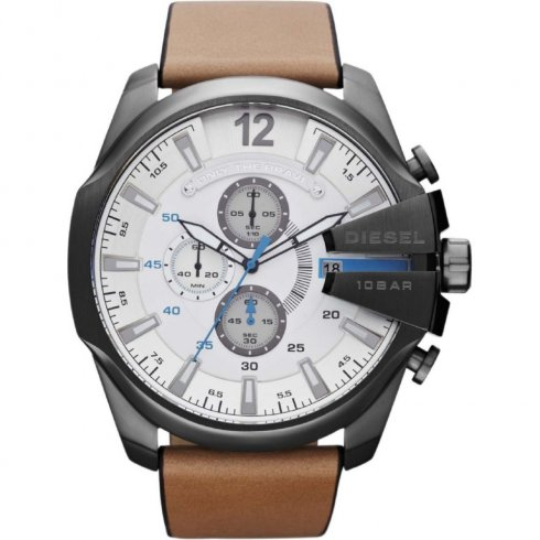 Diesel Chief white dial chronograph leather strap Mens watch DZ4280
