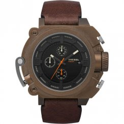Diesel Chronograph black dial chronograph leather strap Mens watch DZ4245