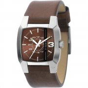 Diesel Cliffhanger black dial leather strap Mens watch DZ1090