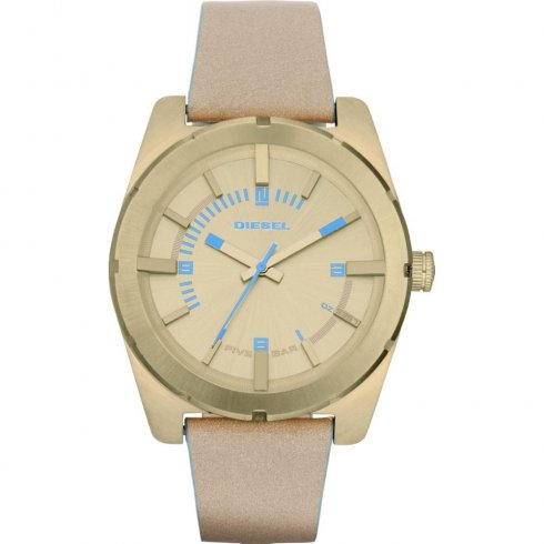 Diesel Company gold dial leather strap Mens watch DZ5357
