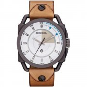 Diesel Descender white dial leather strap Mens watch DZ1576