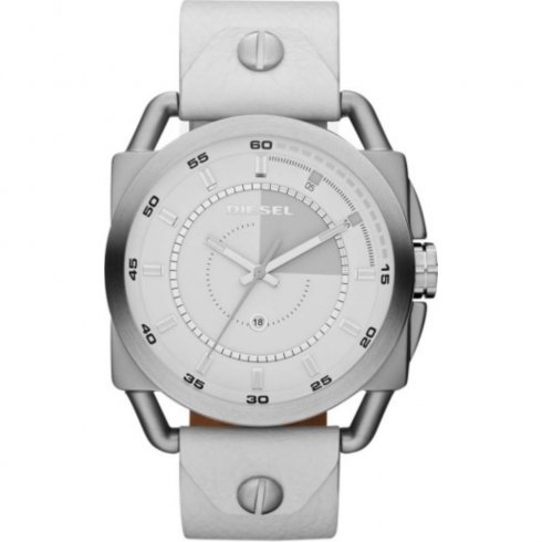 Diesel Descender white dial leather strap Mens watch DZ1577