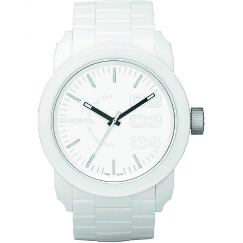 Diesel Franchise White Dial Rubber Strap Mens Watch DZ1436